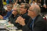 Amüsiert: ABCSG-Vorstandsmitglieder Univ.-Doz. Dr. Michael Fridrik, Priv.-Doz. OA Dr. Brigitte Mlineritsch, Univ.-Prof. Dr. Hellmut Samonigg, Univ.-Prof. Dr. Herbert Stöger