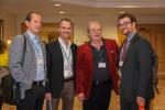 Vorfreude auf das Abendprogramm: ABCSG-Vorstandsmitglied Dr. Christoph Tausch, Dr. Stefan Halper, ABCSG-Vorstandsmitglied OA Dr. Werner Kwasny und Dr. Tadeusz Panhofer