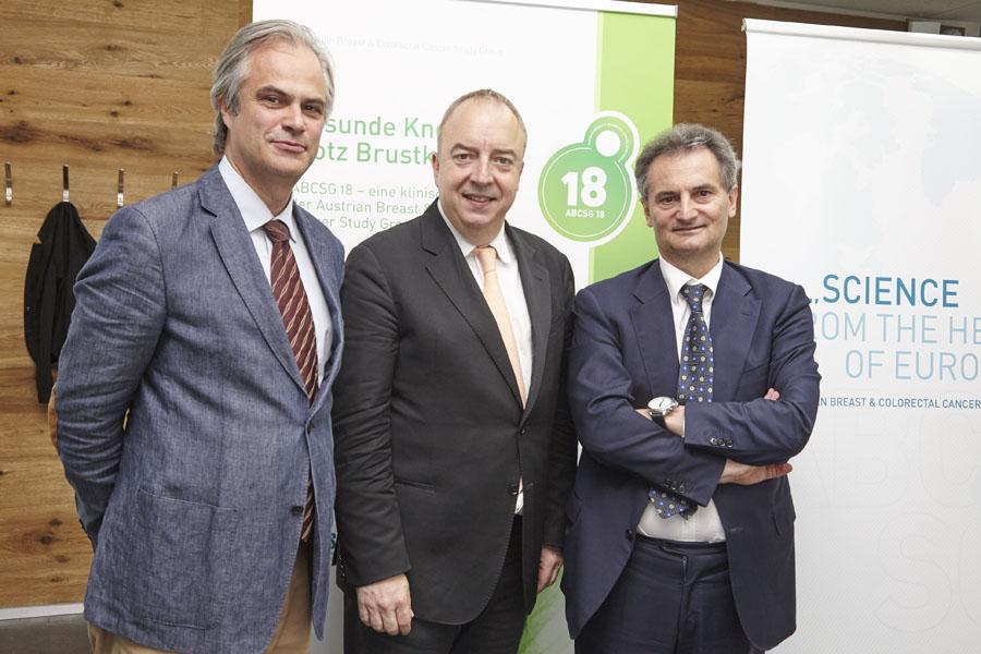 Univ.-Prof. Dr. Christian Singer, Univ.-Prof. Dr. Michael Gnant und Prim. Univ.-Prof. Dr. Richard Greil.