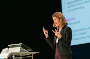 Daniela Kauer-Dorner bereitete die Themen Radioonkologie, Bildgebung und Immuntherapie auf.